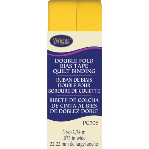 Wrights Double Fold Quilt Binding, 7/8 by 3-Yard, Yellow ()