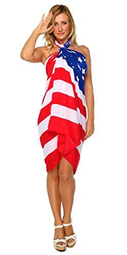 1 World Sarongs Womens American Flag Swimsuit Cover-Up Sarong