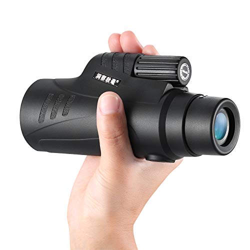 Monocular with Quick Cell Phone Adapter for Bird Watching Hunting Hiking Travelling (Black)