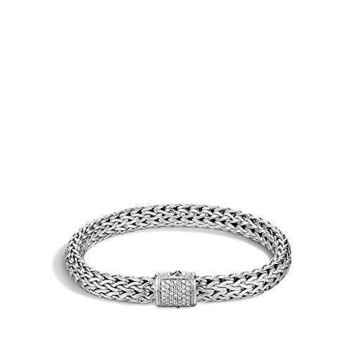 John Hardy Women's Classic Chain Silver Diamond Pave Medium Bracelet (0.24ct), Size M - BBP90402DIXM