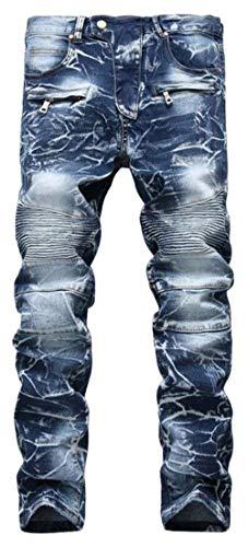 Di Pantaloni Slim Svago Uomo Moto Denim Elasticizzati Jeans 6501blau Fit Hren Skinny Dei Motociclista Sottili qBxBaYv8