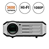 1080p LED Video Projector,Gzunelic 3600 lumens Full HD home Theater Proyector, Hi-Fi speakers