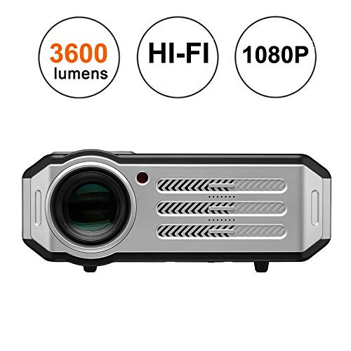 1080p LED Video Projector,Gzunelic 3600 lumens Full HD Home Theater Proyector Hi-Fi Speakers Built in,Adopt 6 Primary Colors Matrix HD Imaging Technology with 2 HDMI 2 USB VGA AV Multiple interfaces