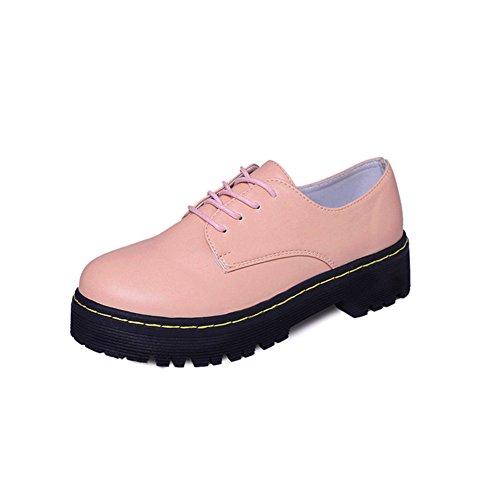 T-juli Damesmode Oxfords-schoenen - Retro Plateau Dikke Zool Ronde Neus Glimmende Casual Schoenen Roze