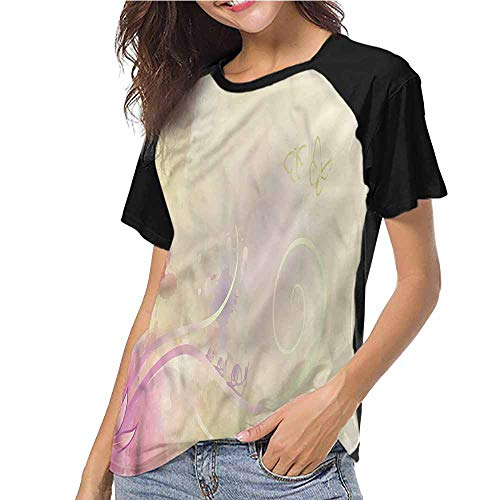 Summer Casual Short Sleeve,Romantic,Curly Stems Leaves Pastel S-XXL(This is for Size Extra Extra Large),T Shirt Female Tight