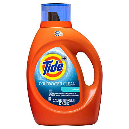 - Tide Coldwater Clean Fresh Scent HE Turbo Clean Liquid Laundry Detergent, 92 oz, 59 loads (Packaging May Vary)