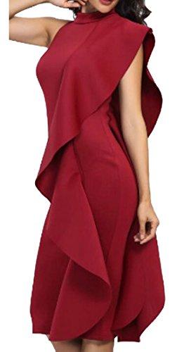 WSPLYSPJY Women Sexy Shoulder Ruffle High Low Mermaid Bodycon Evening Maxi Dress Wine Red XXS by WSPLYSPJY