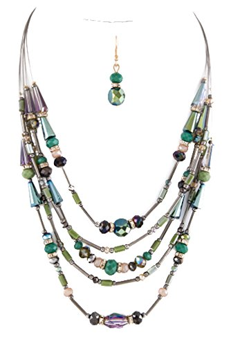 WOMENS FASHION JEWELRY-Mix Beads Layer Necklace Set-GREEN STONES