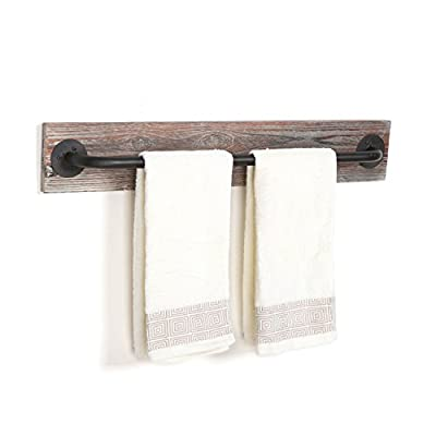 Torched Wood & Black Metal Hanging Towel Bar / Wall Mounted Bathroom Towel Holder Rack - MyGift®