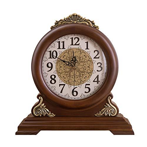 KJH Reloj de Mesa, Reloj Manto, de Madera Maciza de Doble Cara del ...