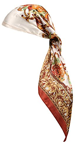 Love Lakeside Women's Silk Feel, Pre-tied, Printed, Fitted Headscarf, Chemo Cap Bandana Sleep Turban Head Scarf Brown (Bandana Silk Printed)