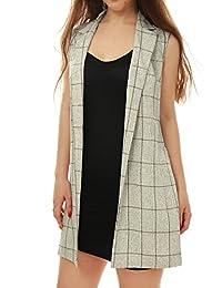 Allegra K Women Open Front Textured Plaids Long Vest