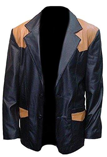 classyak de moda alta negro calidad piel Sheep abrigo Black de Hombre Real rwrqFE