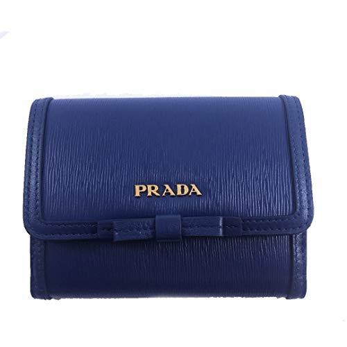 Prada Vitello Move Leather Bluette Blue Coin Purse Bi-fold Bow Wallet ()