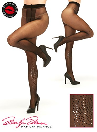 - Marilyn Monroe Women Fashion Sheer Pantyhose Tights Stockings With Black Rhinestones size A Black
