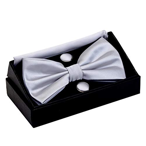 GUSLESON Mens Solid Silver Gray Bow Tie Charcoal Color Pre-tied Wedding Bowtie and Pocket Square Cufflink Set With Box (0570-09)]()
