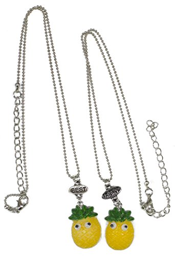 Set of 2 Pineapple Necklaces 'Best Friends' Adjustable from
