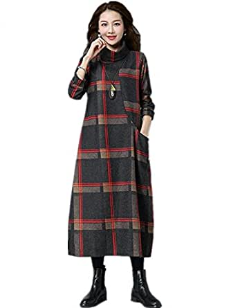 Woolen Vintage Plus Size Women Casual Loose Long Autumn