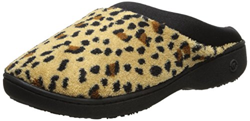 Isotoner Women's Microterry Hoodback W/Satin Trim, Cheetah 7.5/8