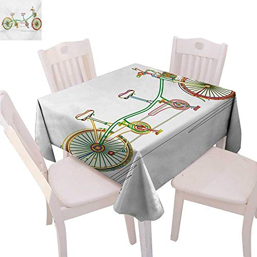 BlountDecor Bicycle Customized Tablecloth Colorful Tandem Bicycle Design on White Background Pattern Clipart Style Print Tablecloth That can be Used as a Tapestry 50
