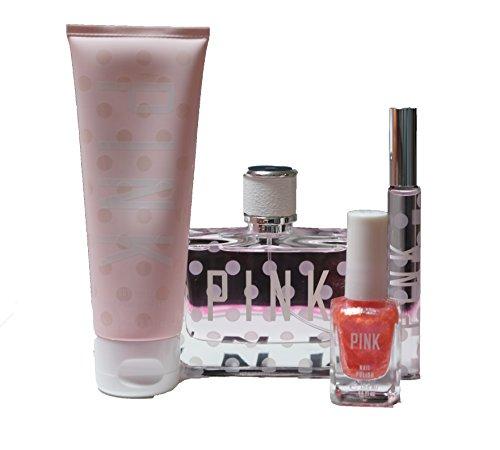 VICTORIA'S SECRET PINK PERFUME GIFT SET: Perfume + Rollerball + Body Lotion + Nail Polish