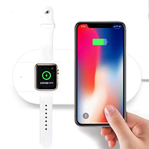 Price comparison product image Lywey (Upgraded) 2 in 1 Wireless Charger for iPhone X & Apple Watch,(7.5W/10W) Fast Wireless Charger for iPhone X/8/8 Plus/Galaxy S7/S8/S9/Note 8, for iWatch Series 3/2/1