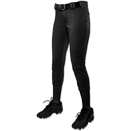 CHAMPRO Women's Low-Rise Tournament Fastpitch Pant (Small, Black) Fastpitch Pant