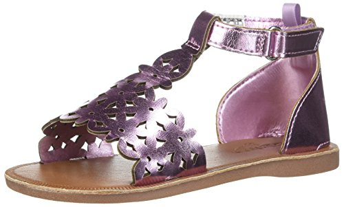 OshKosh B'Gosh Winnie Girl's Metallic Flower T-Strap Sandal, Purple 8 M US -