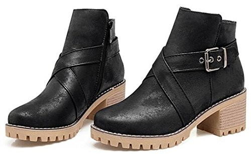 Idifu Womens Fashion Buckle Mid Chunky Heels Korte Martin Boots Enkellaarsjes Met Zijrits Zwart