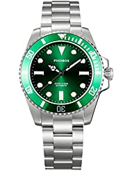 PHOIBOS GTEAT WHITE PY006A 300M Automatic Diver Watch Green