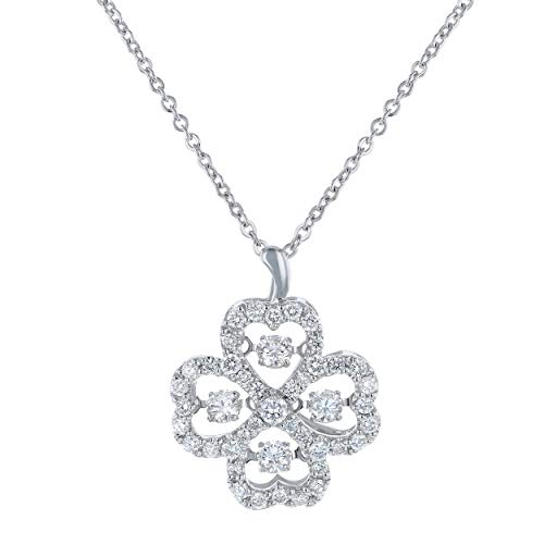 Olivia Paris 5/8 Carat (ctw) White Diamond Heart Clover Leaf Necklace in 14k White Gold (H-I I1) 18""