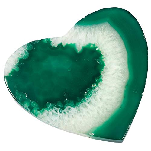 TUMBEELLUWA Polished Agate Slices Stone Slab Place Cards Healing Crystal Geode Home Decoration Pack of 2,Heart,Green ()