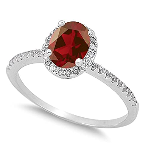 925 Sterling Silver Faceted Natural Genuine Red Garnet Oval Halo Ring Size 12 (Garnet Rings Clearance)