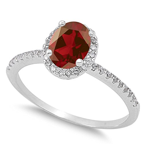 Oval Faceted Garnet Ring - 925 Sterling Silver Faceted Natural Genuine Red Garnet Oval Halo Ring Size 8