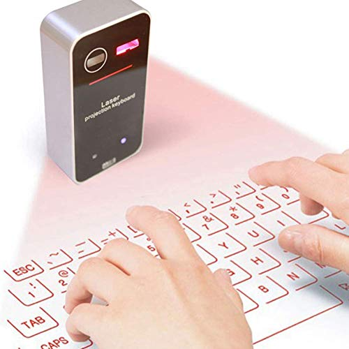 Microware Wireless Mini Projection Virtual Bluetooth Laser Keyboard for Smart Phone Tablet PC Laptop  Silver