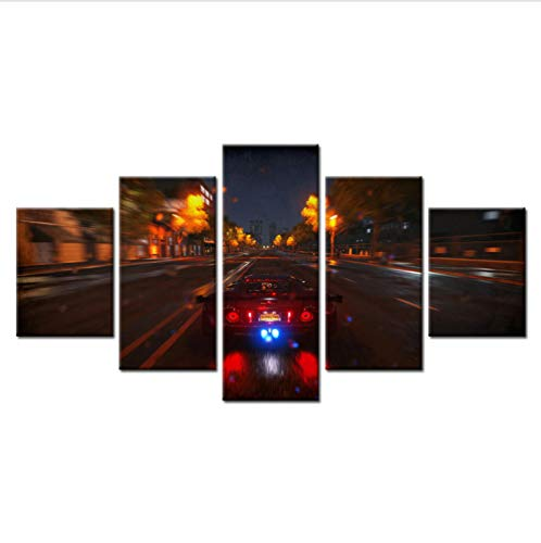 Alasijia 5 Panel Super Car Night Neon Lights Spacious Road Modern Home Wall Decor Canvas Picture Art HD Print Painting On Canvas Artworks-20CMx35/45/55CM