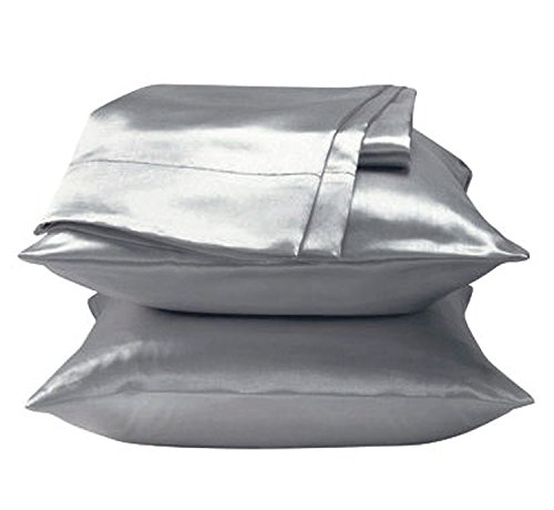 2 Pieces of 350TC Solid Color Soft Silky Satin Pillow Cases / Protector / Cover (Queen / Full, Silver)