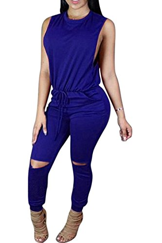 Women's 1PC Trendy Jumpsuit Sleeveless Broken Hole Waisted Club Long Romper Outfit, X-Large,  Sapphire Blue