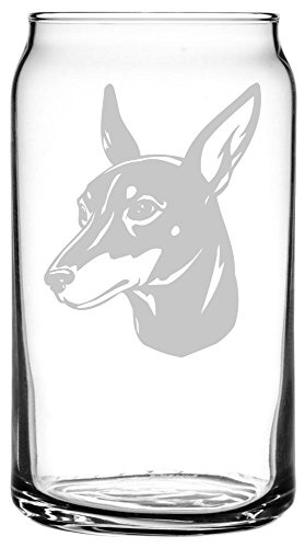 (Toy Manchester Terrier Dog Themed Etched All Purpose 16oz Libbey Can Glass )