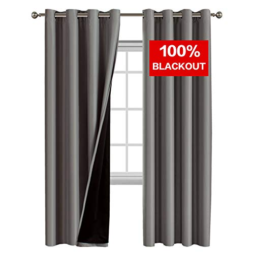 Flamingo P Full Blackout Curtains, Thermal Insulated & Energy Efficiency Window Drapery, Lined Silky Performance, Dove Gray Color, Grommet, Set of 2, W52 x L84