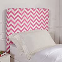 Better Homes and Gardens Kids Upholstered Headboard Polyester Fabric (Full/Queen, Pink Chevron)