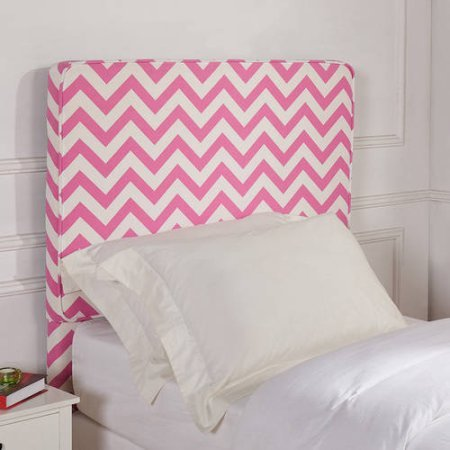 Better Homes and Gardens Kids Upholstered Headboard Polyester Fabric (Twin, Pink Chevron)