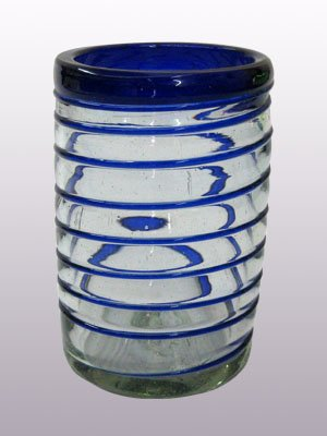 Mexican Blown Glass Drinking Glasses Cobalt Blue Spiral (Set of 6)