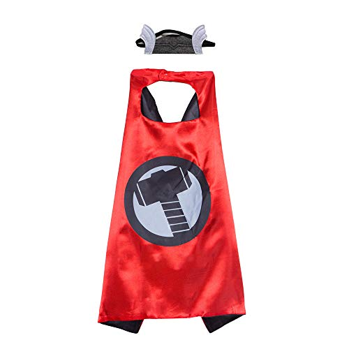 Kids Thor Capes Felt Mask,Dress Up Cape for Birthday Party Costume -