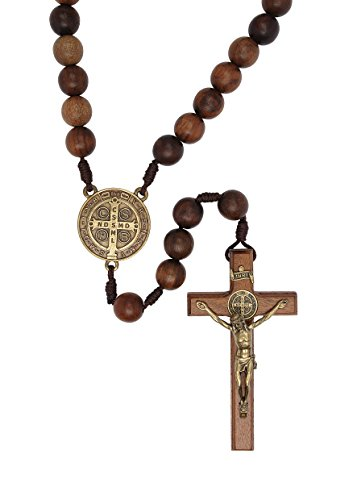 IntercessionTM Wall Wood Rosary - Made in Brazil (St Benedict - Walnut - 19mm Beads)