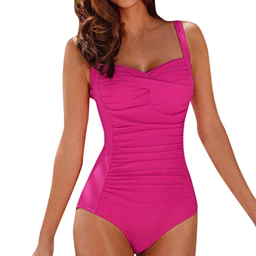 One Piece Bathing Suit for Women Vintage Swimwear Ruched Tummy Control Swimsuit (XL, Hot Pink) (Hot Bathing Suits)