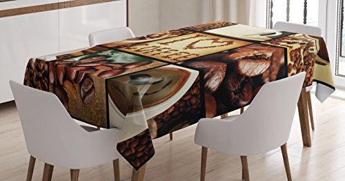 Brown Tablecloth by Ambesonne, I Love Coffee Theme Collage Roasted Beans Brewing Machines and Cups Aromatic Drink, Dining Room Kitchen Rectangular Table Cover, 60W X 84L Inches, Brown White (Theme Coffee)