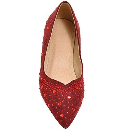 ... AIYOUMEI Damen Spitz Wildleder Flach Pumps mit Strass und 2cm Absatz  Bequem Elegant Schuhe Rot ...