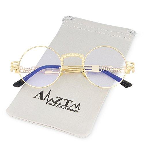 de de Gafas Marco Marco Claro Steampunk Lente Redondo AMZTM Metal Sol Dorado de Gafas Vendimia YBHxqpZw