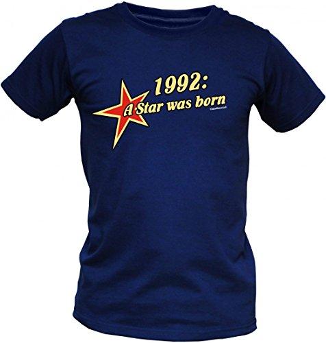 Birthday Shirt - 1992 A Star was born - Lustiges T-Shirt als Geschenk zum Geburtstag - Blau